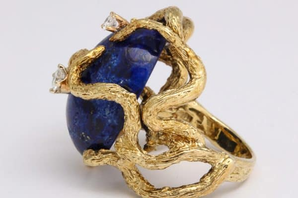 Lapis and 14k gold cocktail ring