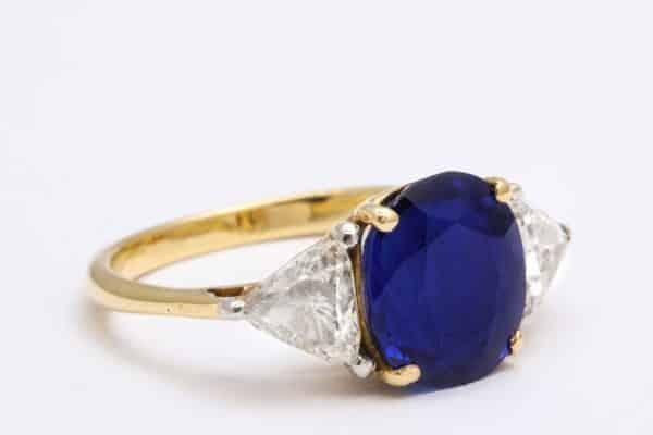 verdurathree stone sapphire and diamond ring