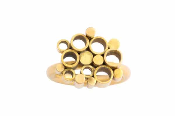 Seventies geometric gold ring