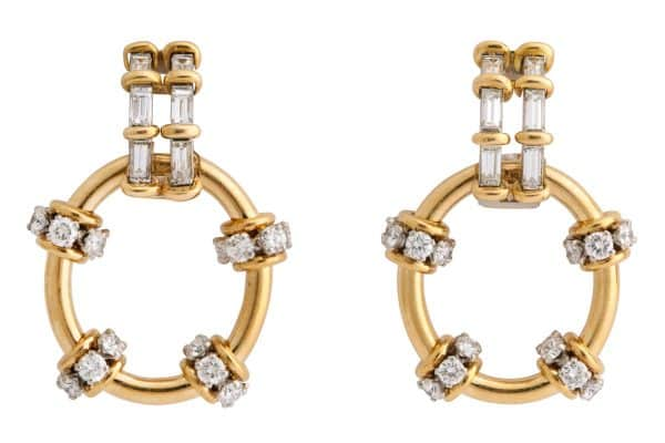 schlumberger diamond and gold doorknocker earrings