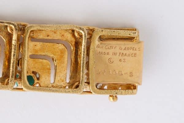 vintage van cleef gold and turquoise bracelet