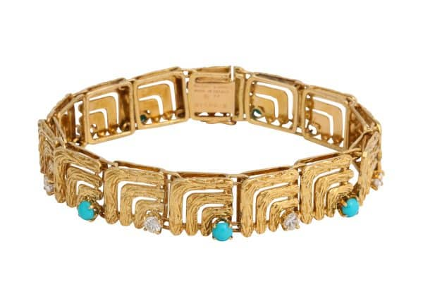 vintage van cleef gold and turquoise bracelet