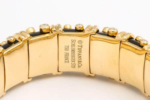 schlumberger for tiffany black paillone enamel dot et losange bracelet
