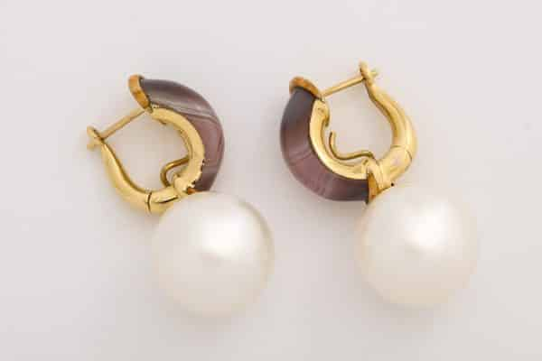 Nicholas Varney carved agate and south sea pearl earrings
