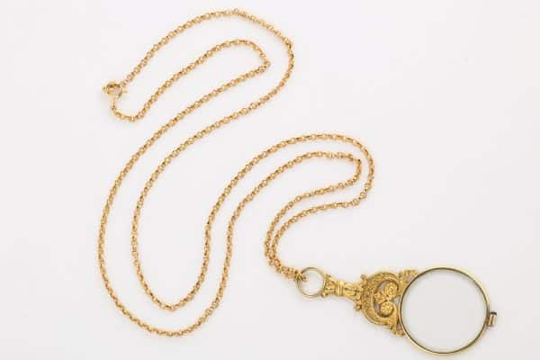 Antique 18k gold fob chain with magnifier